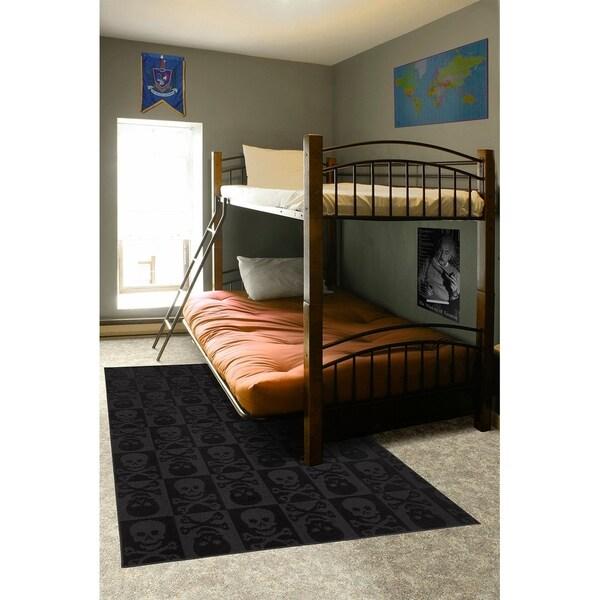 """Skulls Black Large Living Room Area Rug - 7'6"""" x 9'6"""""""
