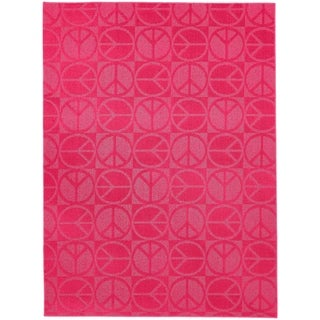 Large Peace Pink  Living Room Area Rug