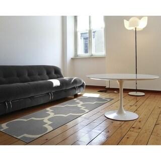 Quatrefoil Silver/Ivory  Living Room Area Rug Runner
