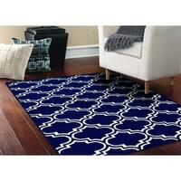 Silhouette Indigo/Ivory Living Room Area Rug