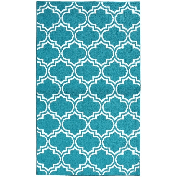 Silhouette Teal/White Living Room Area Rug - 5' x 7'