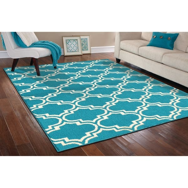 Shop Silhouette Teal Ivory Large Living Room Area Rug 8 X 10