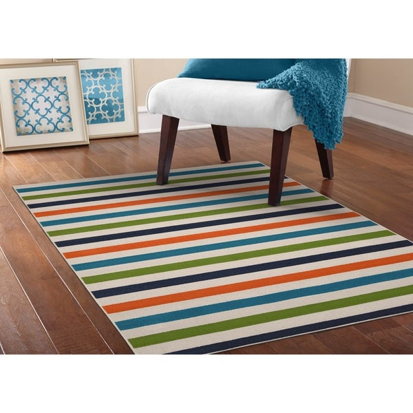 Summer Stripe Multi Color Living Room Area Rug