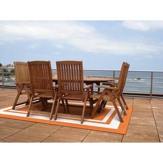 """Borderline Orange/White 24"""" x 40"""" Indoor/Outdoor Area Rug"""