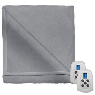 Perfect Fit Serta Fleece Electric Heated Warming Blanket King Gray