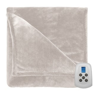 Perfect Fit Silky Plush Electric Heated Warming Blanket Twin Ivory