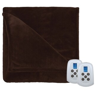 Serta Perfect Fit Silky Plush Electric Heated Warming Blanket Queen Chocolate