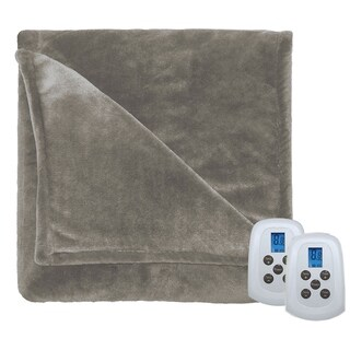 Serta Perfect Fit Silky Plush Electric Heated Warming Blanket King Sand