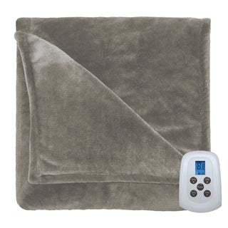 Serta Perfect Fit Silky Plush Electric Heated Warming Blanket Twin Sand