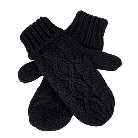 Womens Lined Cable Knit Mittens