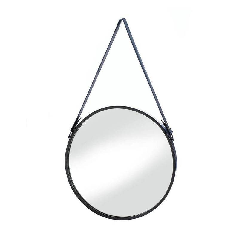 Accent Plus Mid Century Modern Style Hanging Mirror With Faux Leather Strap