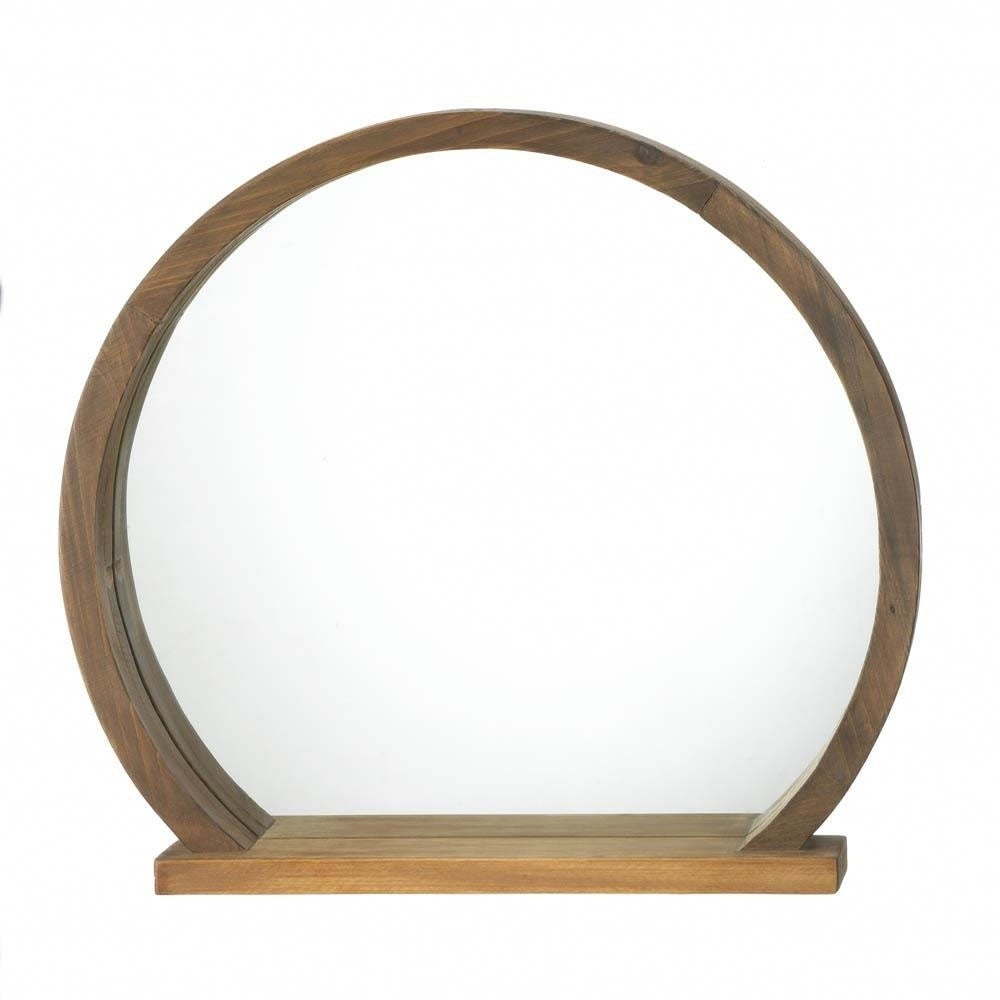 Accent Plus Rustic Decorative Round Wooden Wall Mirror With Shelf Brown