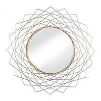 Summerfield Terrace Crisscrossing Golden Geometric Metal Rod Round Decorative Wall Mirror - Gold