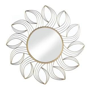 Accent Plus Decorative Golden Petals Iron Reflective Wall Mirror - Gold