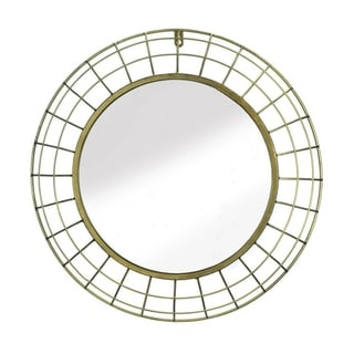 Accent Plus Contemporary Golden Wire Dome Framed Round Decorative Wall Mirror - Gold