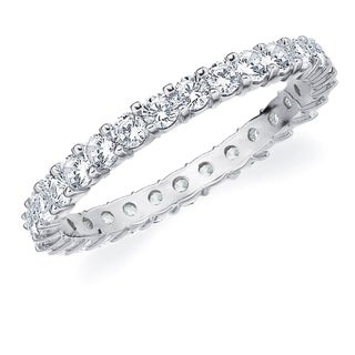 1CT Prong Set Lab Grown Diamond Eternity Ring in White Gold, E-F Color/VS Clarity