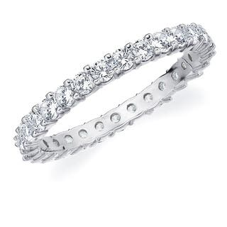 1CT Prong Set Lab Grown Diamond Eternity Ring in White Gold, E-F/VS