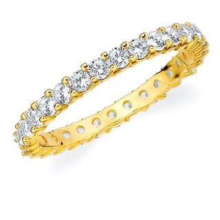 1CT Prong Set Lab Created Diamond Eternity Ring in Yellow Gold, E-F Color/VS Clarity