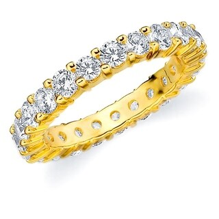 2CT Prong Set Lab Grown Diamond Eternity Ring in Yellow Gold, E-F Color/VS Clarity