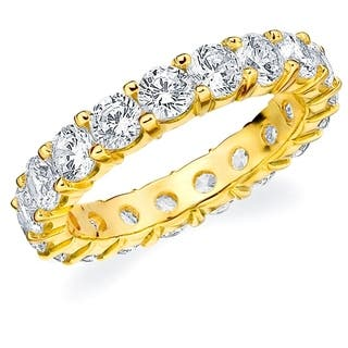 3CT Prong Set Lab Created Diamond Eternity Ring in Yellow Gold, E-F/VS