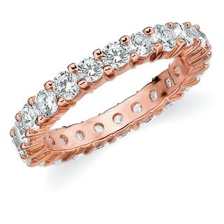 2CT Prong Set Lab Created Diamond Eternity Ring in Rose Gold, E-F Color/VS Clarity