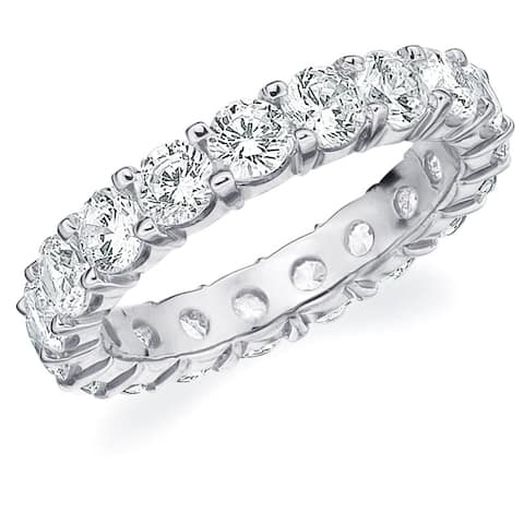 3CT Prong Set Lab Grown Diamond Eternity Ring in White Gold, E-F/VS