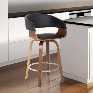 Bishop Modern Walnut Wood Finish and Black Faux Leather Counter Barstool