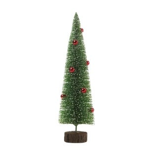 Christmas Collection Holiday Decorative Tall Glitter Green Faux Pine Tree with Red Ornaments