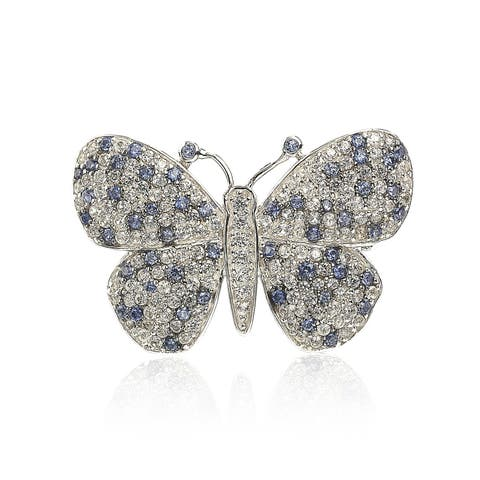 Suzy Levian Sterling Silver Sapphire & Diamond Accent Butterfly Pendant Brooch