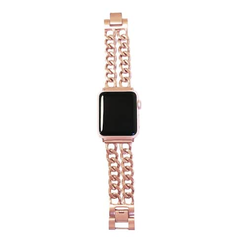 Double Row Chain Link Apple Watch Band in Rose Gold for 38/40mm Face