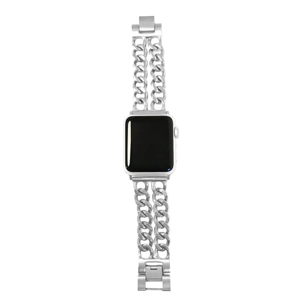 Shop Double Row Chain Link Apple Watch Band In Silver