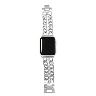 Double Row Chain Link Apple Watch Band in Silver - for 42/44mm Face