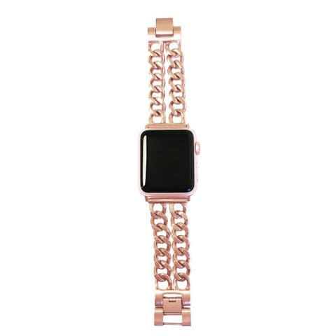 Double Row Chain Link Apple Watch Band in Rose Gold for 42/44mm Face