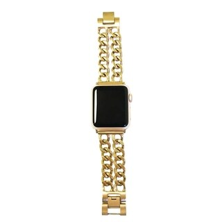 Double Row Chain Link Apple Watch Band in Gold - for 42/44mm Face