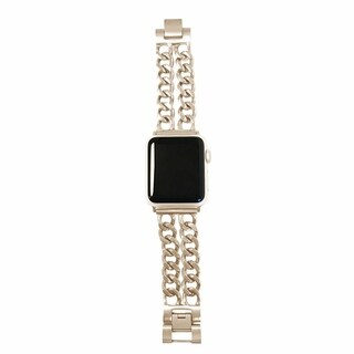 Double Row Chain Link Apple Watch Band in Matte Gold - Apple Watch Series 1, 2, 3, 4 38/40mm Apple Watch Face