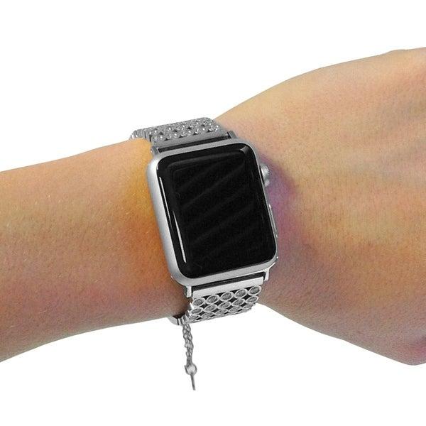 9ca6365c74 Shop Swarovski Crystal Apple Watch Band in Silver - Free Shipping ...