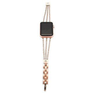 3 Row Chain Link Apple Watch Band in Rose Gold - for 38/40mm Face
