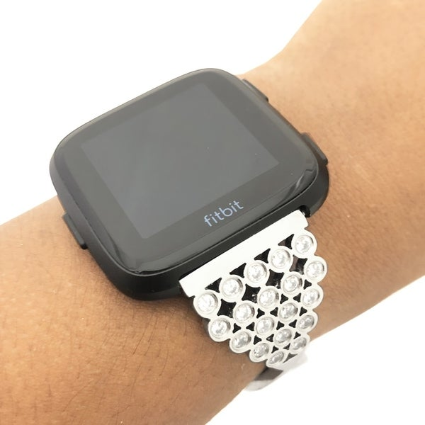 2c55d8541 ... Watch Accessories; /; Watch Bands. Swarovski Crystal Fitbit Versa Band  in Silver