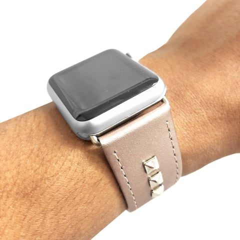 Genuine Leather Studded Apple Watch Band in Pink and Sterling Silver