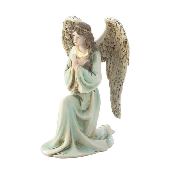Wings of Devotion Polyresin Graceful Kneeling Angel Figurine with Golden Headband and Necklace