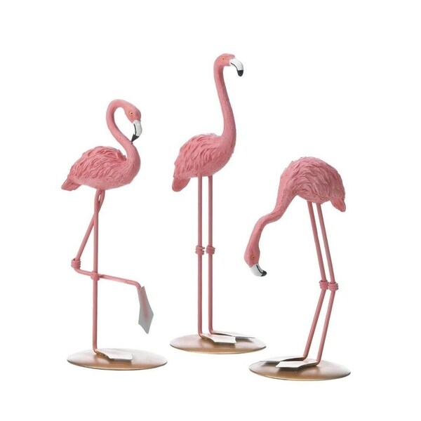 Accent Plus Polyresin Tabletop Decorative Flamingo Figurine Trio
