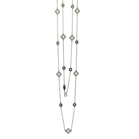 Suzy Levian Sterling Silver Sapphire & Diamond Accent Station Necklace