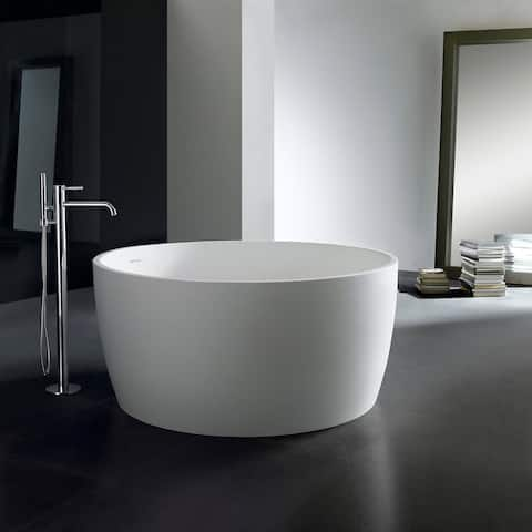 51-Inch Solid Surface White Stone Freestanding Round Bathtub - Matte White