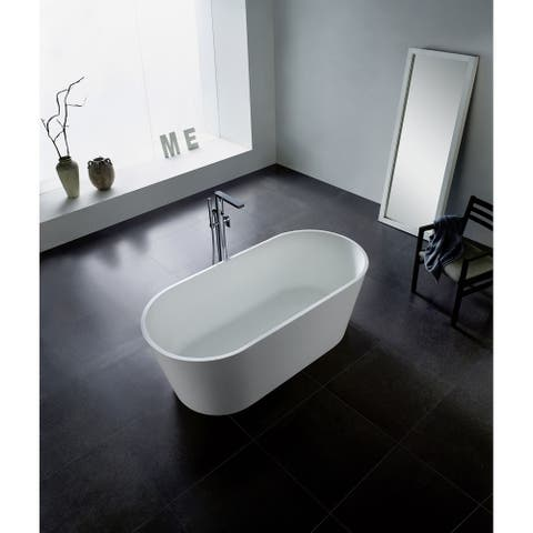 67-Inch Solid Surface White Stone Freestanding Oval Bathtub