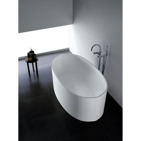 65-Inch Solid Surface White Stone Freestanding Oval Bathtub