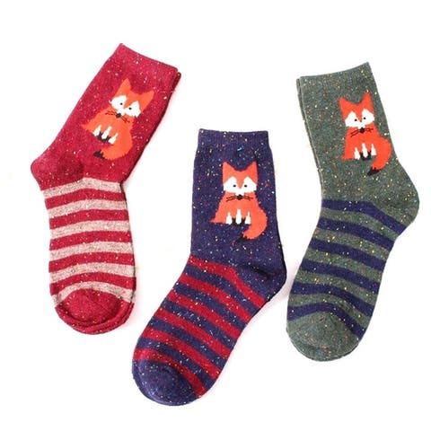 Womens Striped Wolf Socks 3 Pair Set
