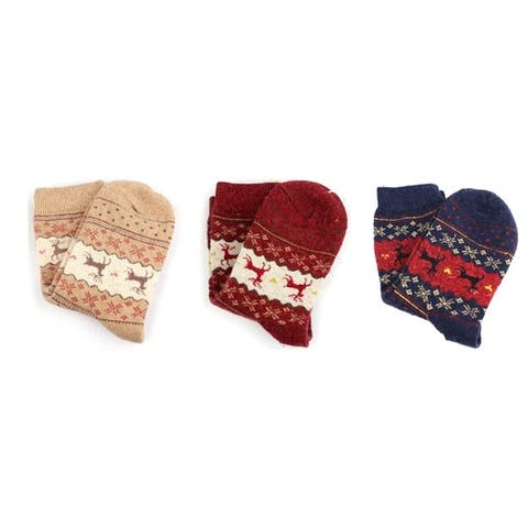 Womens Reindeer Socks 3 Pair Set
