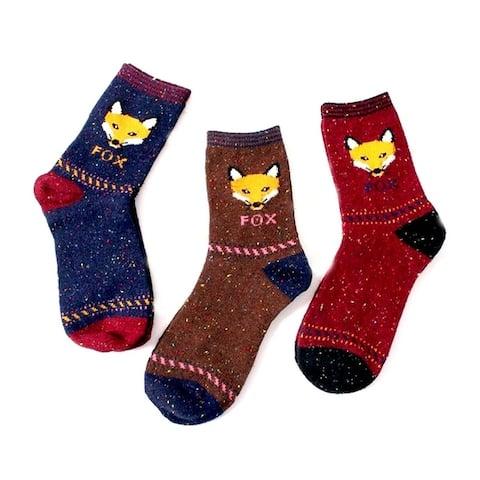 Womens Speckled Fox Socks 3 Pair Set