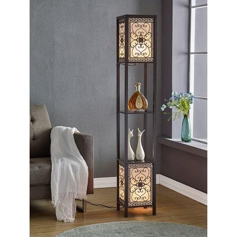 Copper Grove Arans Infinity Heart Shelf 64-inch Espresso Floor Lamp