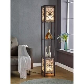 "Artiva USA Infinity Heart Shelf Floor Lamp, 64"", Expresso"